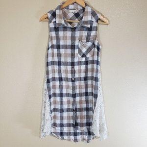 A'reve Hi Lo Plaid Lace Dress/Tunic